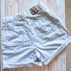 High Rise Pin Stripped Blue Denim Long Shorts 12